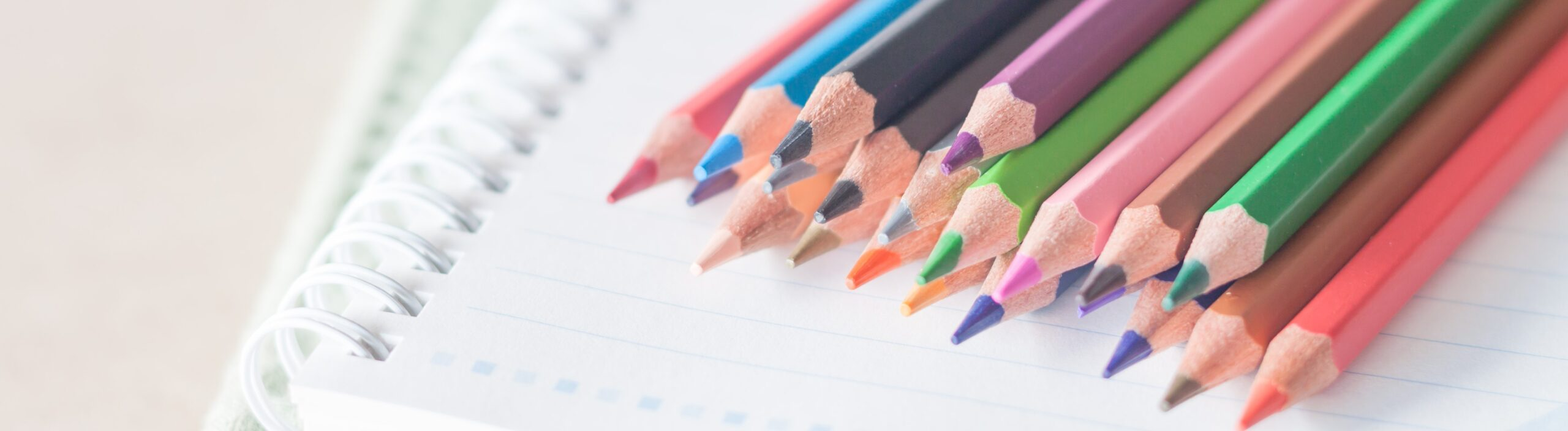 Closeup colorful pencil crayons on spiral notebook and green notebook, stock photo